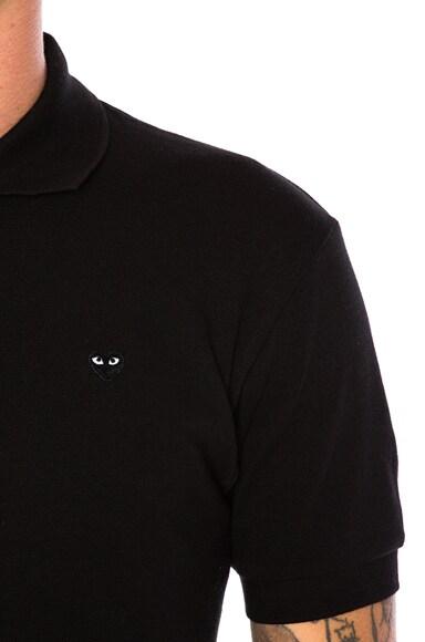 Small Black Emblem Cotton Polo