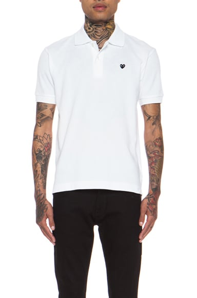 Comme Des Garcons PLAY Small Black Emblem Cotton Polo in White