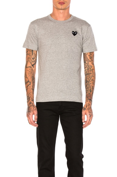 Comme Des Garcons PLAY Black Emblem Cotton Tee in Grey