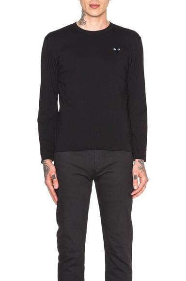 Black Emblem Cotton Long Sleeve Tee