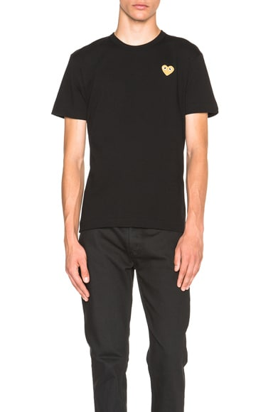 Comme Des Garcons PLAY Gold Emblem Tee in Black