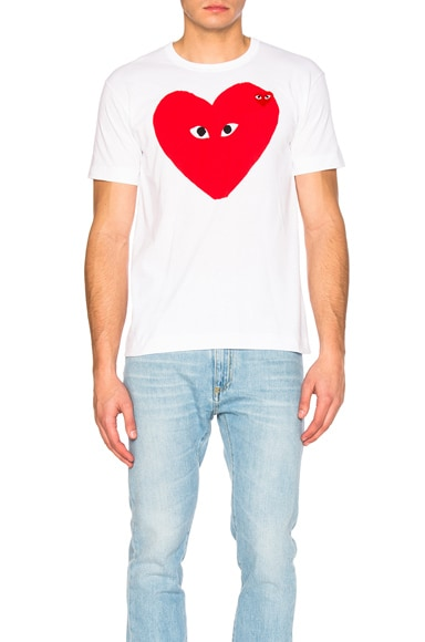 Comme Des Garcons PLAY Large Heart Tee in White