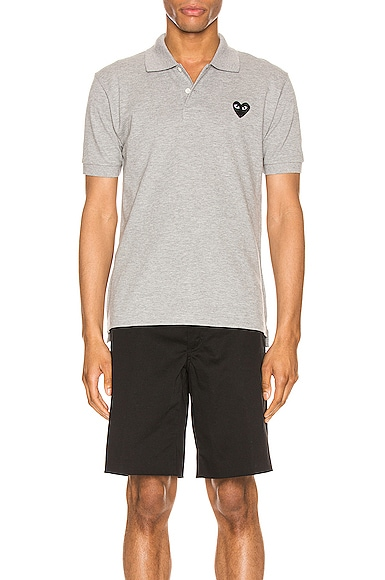 Comme Des Garcons PLAY Cotton Polo with Black Emblem in Grey