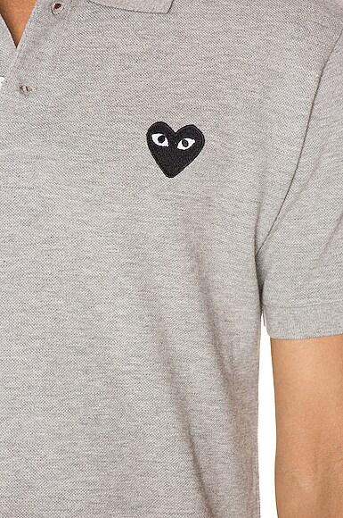 Cotton Polo with Black Emblem