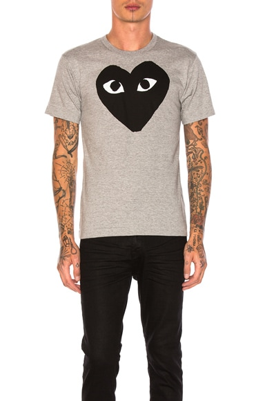 Comme Des Garcons PLAY Emblem Cotton Tee in Grey & Black