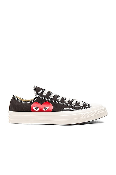 Comme Des Garcons PLAY Large Emblem Low Top Canvas Sneakers in Black