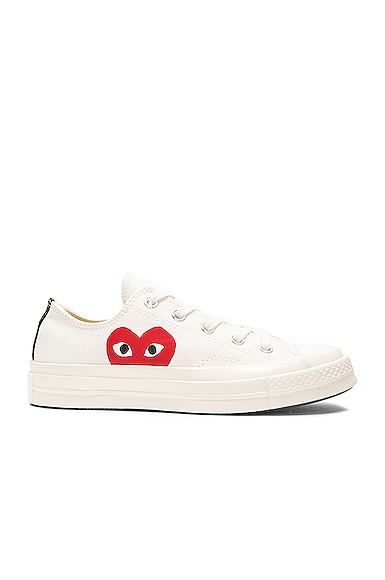Comme Des Garcons PLAY Large Emblem Low Top Canvas Sneakers in White