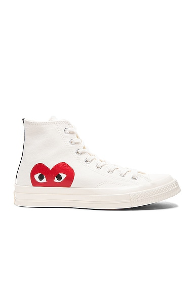 Comme Des Garcons PLAY Large Emblem High Top Canvas Sneakers in White