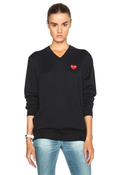 Wool Jersey Intarsia Red Emblem Sweater