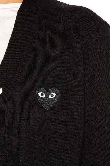 Wool Cardigan with Black Emblem
