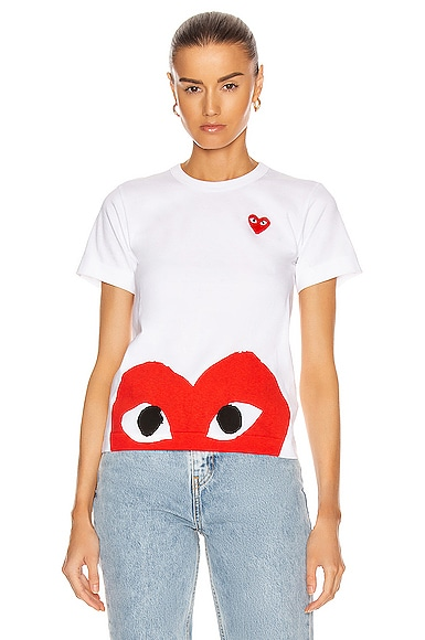 Comme Des Garcons PLAY Red Emblem Heart Tee in White