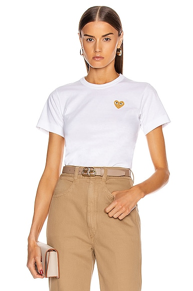 Comme Des Garcons PLAY Gold Heart Emblem Tee in White