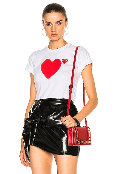 Comme Des Garcons PLAY Reverse Heart Tee in White