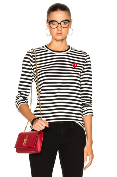 Comme Des Garcons PLAY Cotton Red Emblem Stripe Tee in Black