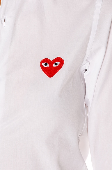 Cotton Button Down with Red Emblem