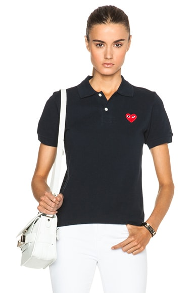 Comme Des Garcons PLAY Cotton Polo with Red Emblem in Navy