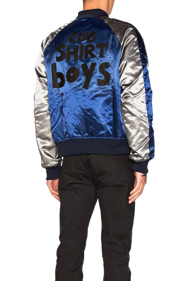 Comme Des Garcons SHIRT Polyester Cloth Quilted Bomber Jacket in Blue Grey & Black
