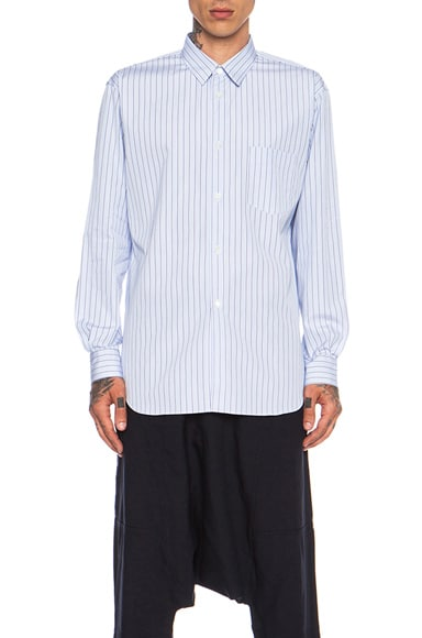 Comme Des Garcons SHIRT Forever Poplin Button Down in Blue Stripe