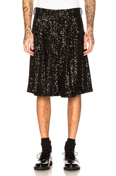 Sequin Garment Washed Shorts