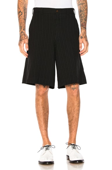 Comme Des Garcons Homme Plus Ester Serge Mottled Stripe Shorts in Black