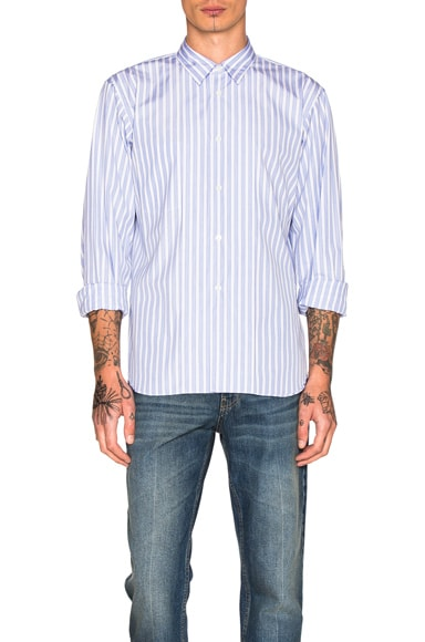Comme Des Garcons Homme Plus Cotton Broad Stripe Shirt in Blue