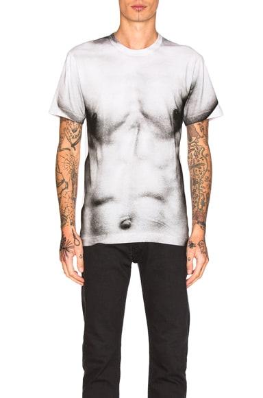 Comme Des Garcons Homme Plus Cotton Jersey T-Shirt in White & Black