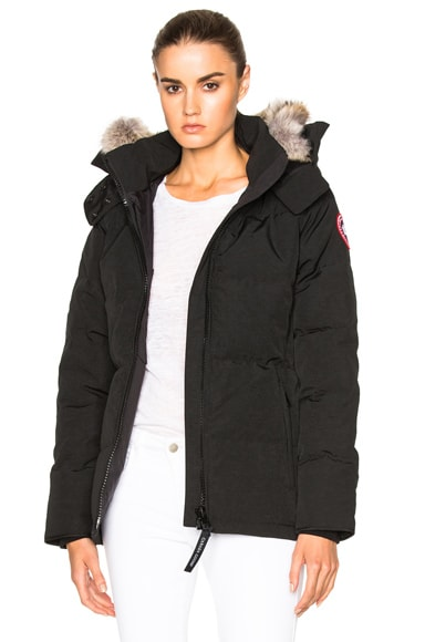 Canada Goose Chelsea Parka with Coyote Fur in Black
