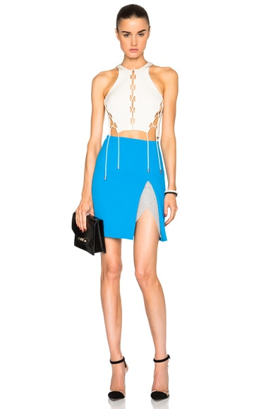 Contoured Slit Mini Skirt