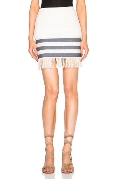 Christopher Esber Tailored Tassel Mini Skirt in Sand Dune & Navy
