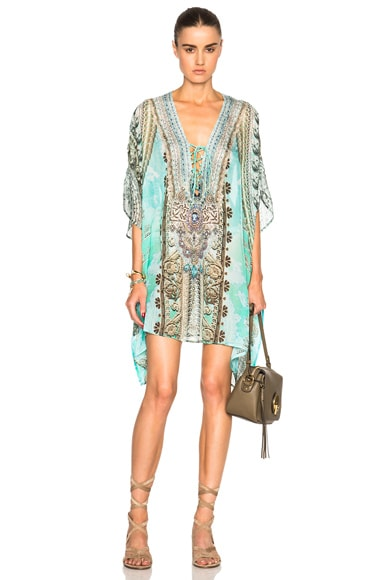 Camilla Mini Lace Up Caftan in Traje De Luce