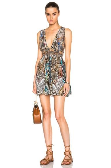 Camilla Mini V Neck Dress in Fan Of The Wild
