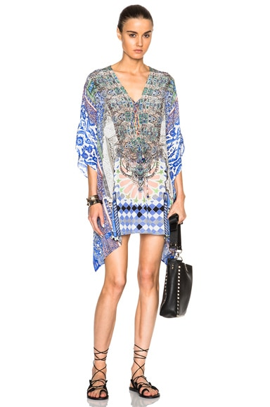 Camilla Mini Lace Up Caftan in Courtyard Of Maidens