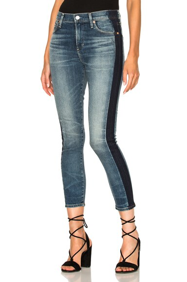Citizens of Humanity Rocket Crop High Rise Skinny in Shadow Stripe