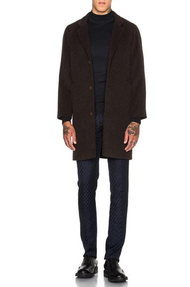 Christopher Kane Wool Raglan Crombie Coat in Brown