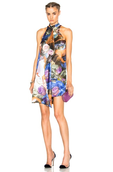 Christopher Kane Printed Front Drape Dress in Multi Rubbish