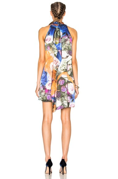 Printed Front Drape Dress