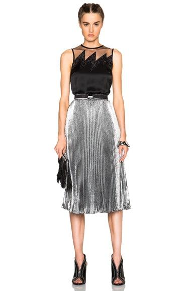 Lame Pleated Skirt