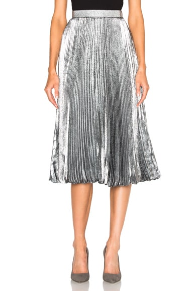Christopher Kane Lurex Pleated Hotfix Skirt in Silver