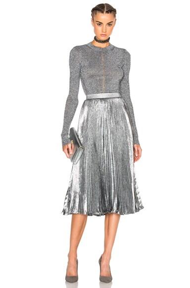 Lurex Pleated Hotfix Skirt