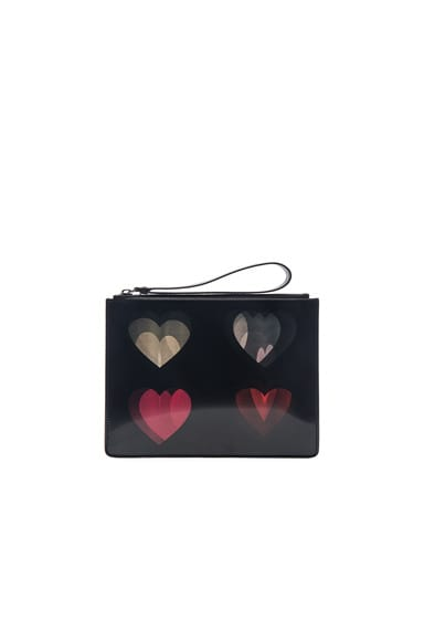 Christopher Kane Lenticular Four Heart Clutch in Black & Pink