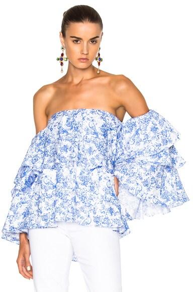 Caroline Constas Carmen Top in Blue Multi