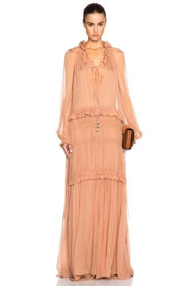 Chloe Silk Crepon Gown in Tea Pink
