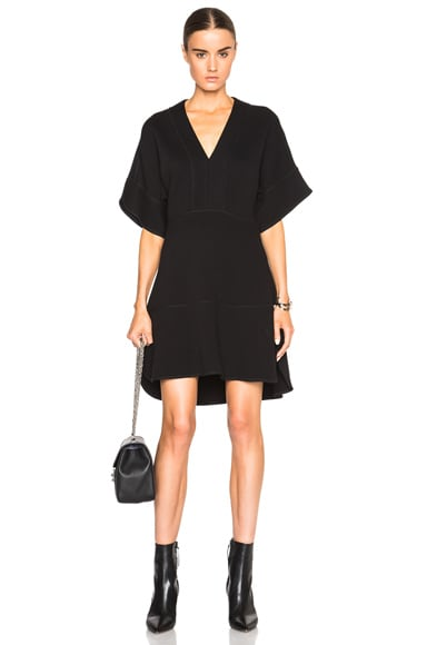 Chloe Double Jersey V Neck Dress in Black