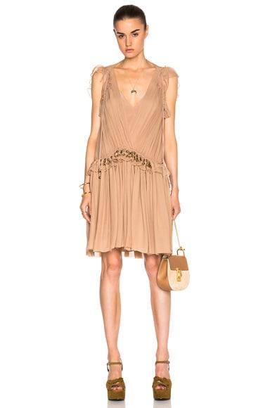 Chloe Silk Crepon Mini Dress in Pinky Beige