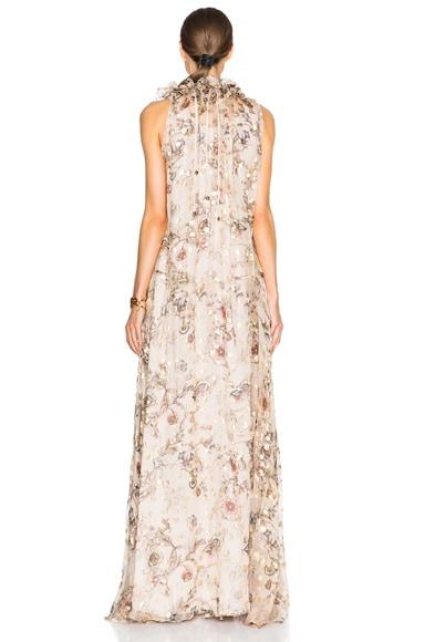 Flower Print Fil Coupe Maxi Dress