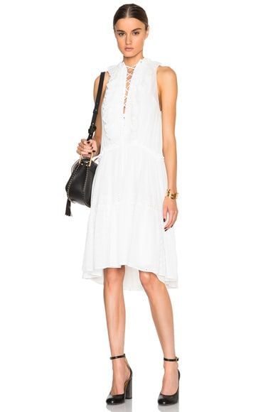 Chloe Embroidered Cotton Voile Lace Up Front Dress in Milk