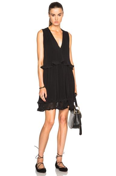 Chloe Pleated Georgette Sleeveless Dress in Black