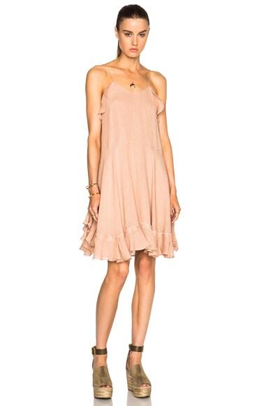Chloe Gauzy Linen Ruffle Mini Dress in Peach