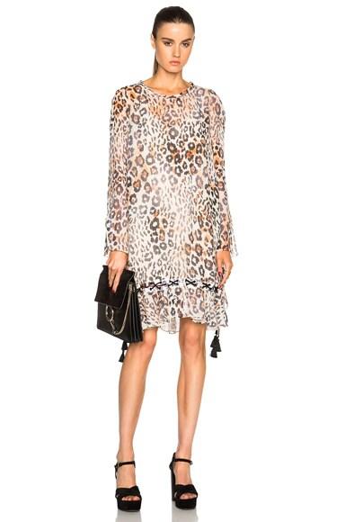 Chloe Leopard Gauze Dress in Multicolored Tawny