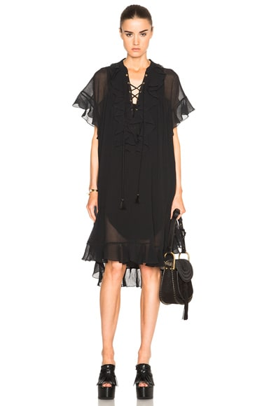 Chloe Cotton Crepon Gauze Ruffle Dress in Black